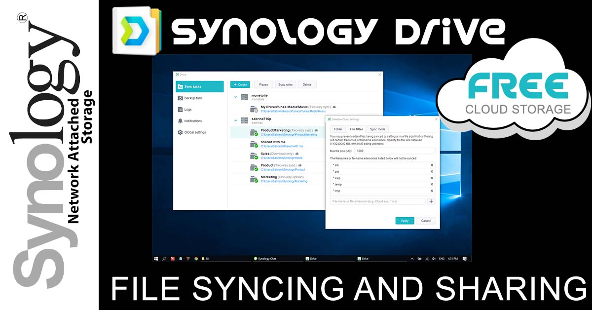 Synology Drive offers FREE cloud storage, file syncing and sharing.